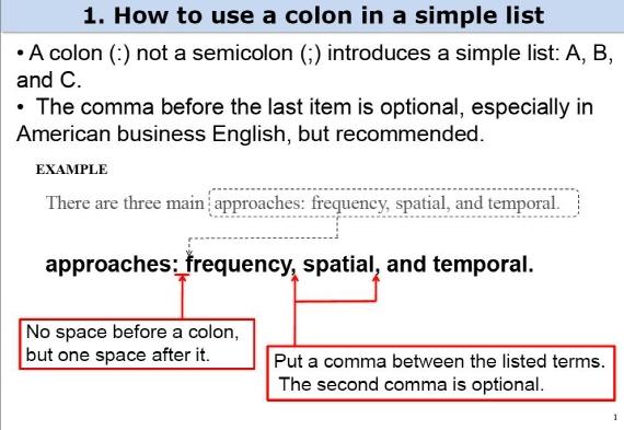 colon or semicolon for lists